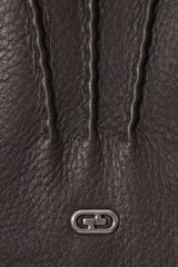 Gucci Exposedstitch Leather Gloves in Brown for Men - Lyst