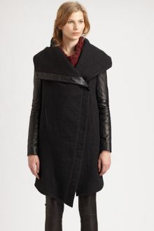 Helmut Lang Willowed Felt Leather Sleeve Coat - Lyst