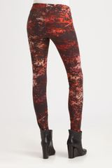 Helmut Lang Midnight Floral Reflex Leggings in Red - Lyst