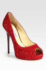 Jimmy Choo Crown Glittercoated Leather Peep Toe Pumps in Red - Lyst