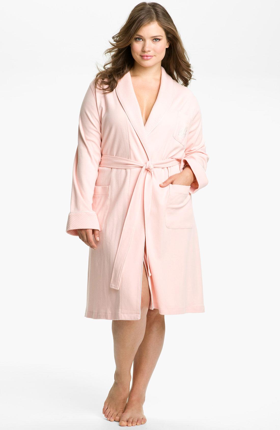 lyst lauren by ralph lauren sleepwear shawl collar robe in pink. Black Bedroom Furniture Sets. Home Design Ideas