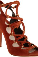 Narciso Rodriguez Lace Up Sandal in Brown (gold) - Lyst