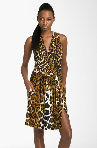 Robert Rodriguez Leopard Print Faux Wrap Dress In Brown