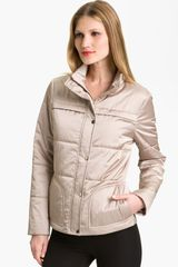 St. John Yellow Label Channel Quilted Satin Puffer Jacket - Lyst