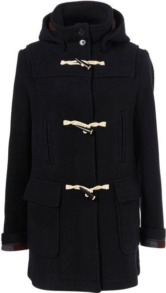 Topshop Navy Bound Seam Duffle Coat in Black (navy blue ...