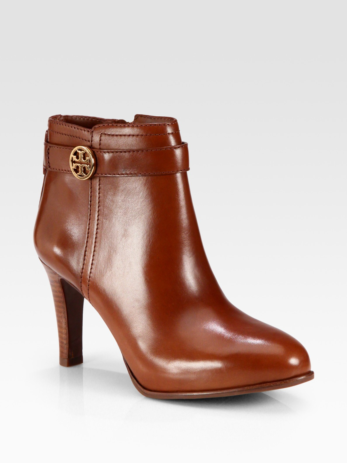 e8d459875a79 Lyst - Tory Burch Bristol Leather Logodetail Ankle Boots in Brown
