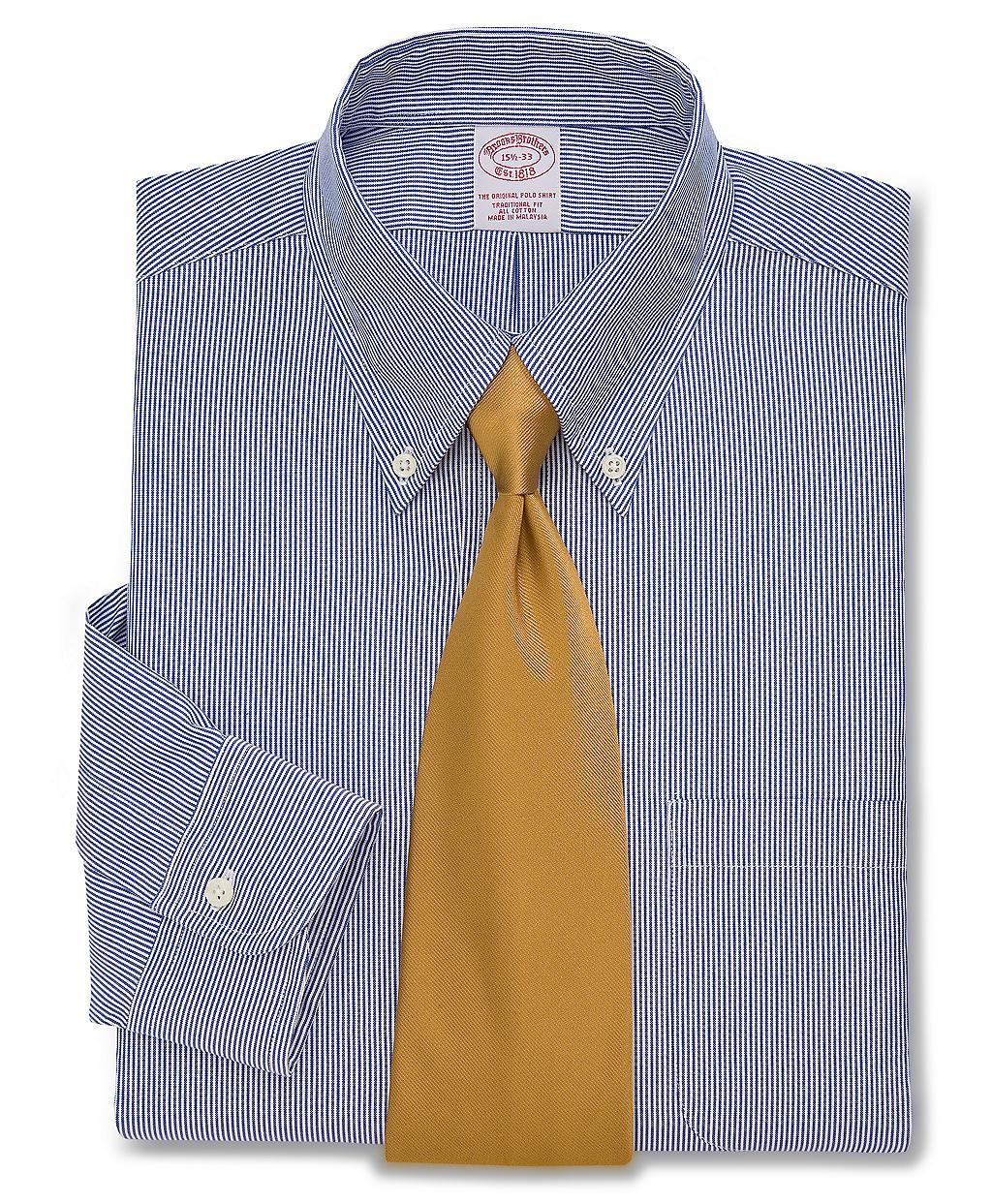 Brooks brothers regent fit stripe dress shirt in blue for for Brooks brothers dress shirt fit guide
