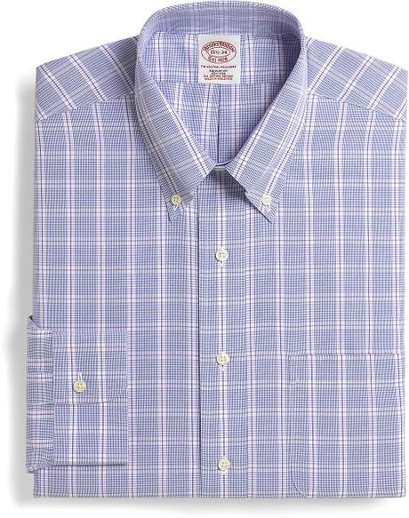 Brooks brothers supima cotton noniron regular fit glen for Brooks brothers dress shirt fit guide