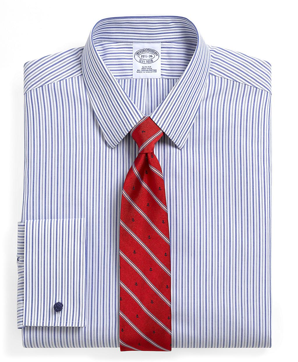 Brooks Brothers Supima Cotton Noniron Slim Fit Pinstripe