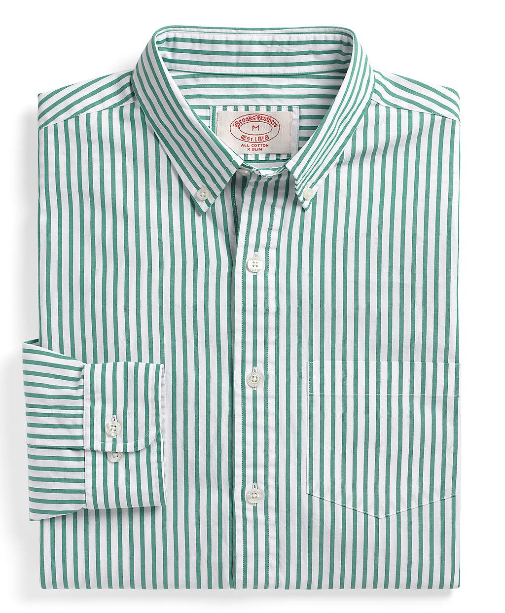 Brooks brothers extraslim fit pinpoint bar stripe sport for Brooks brothers custom shirt