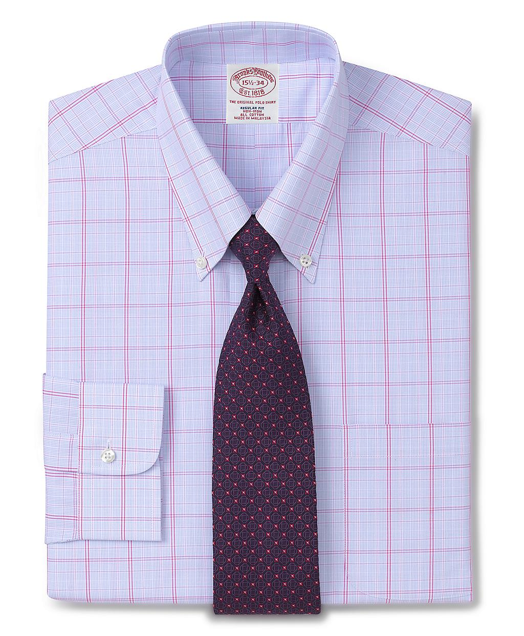 Brooks brothers allcotton noniron regular fit grid for Brooks brothers dress shirt fit guide