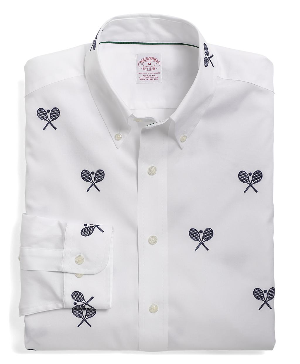 Brooks brothers regular fit tennis racquet embroidered for Brooks brothers dress shirt fit guide