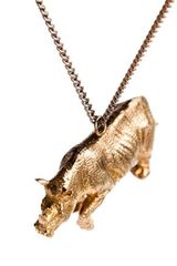 Cold Picnic Rhino Pendant in Gold (animal) - Lyst