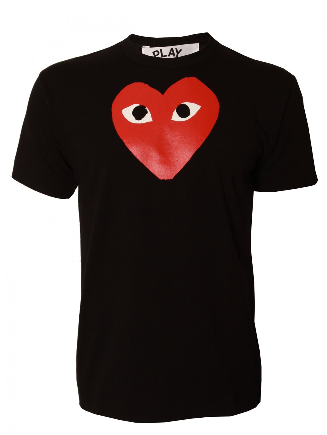 comme des gar ons play mens heart logo t shirt black in. Black Bedroom Furniture Sets. Home Design Ideas