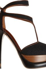 Fendi Tstrap Platform Sandal in Black (anthracite) - Lyst