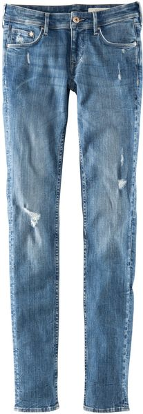 H&m Skinny Low Jeans in Blue (denim) - Lyst