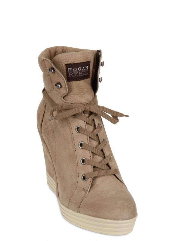 bb2d2c4f5339 Lyst - Hogan Rebel 100mm Suede High Top Sneaker Wedges in Natural