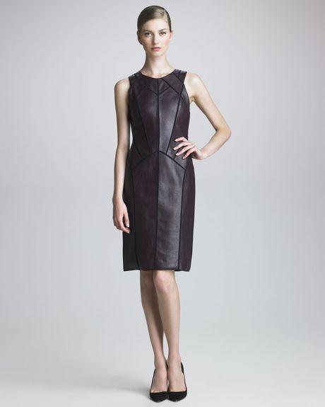 J. Mendel Leather Panel Dress in Purple (plum)