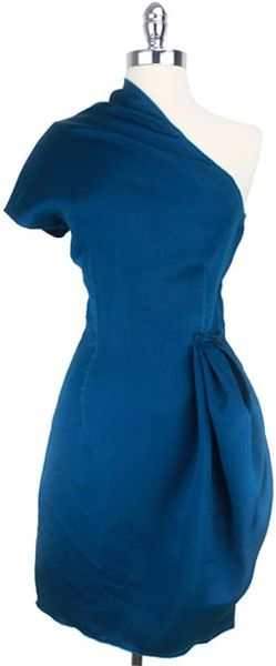 Lanvin One Shoulder Dress in Blue (teal) - Lyst
