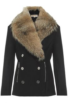 Michael by Michael Kors Double Breasted Pea Coat With Fur Collar - Lyst