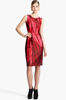 Oscar de la Renta Print Mikado Sheath Dress - Lyst