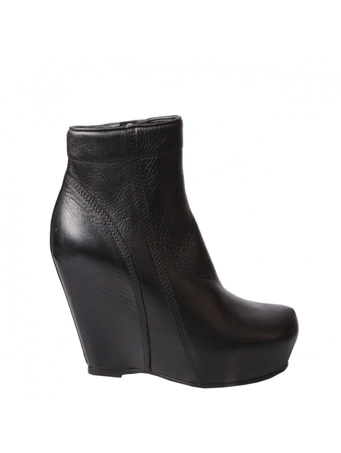Black Leather Wedge Ankle Boots - Cr Boot