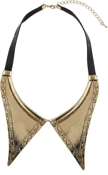 Topshop Textured Point Collar in Gold