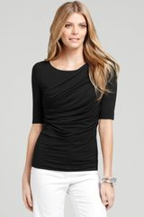 Ann Taylor Petite Asymmetrical Pleated Front Top - Lyst