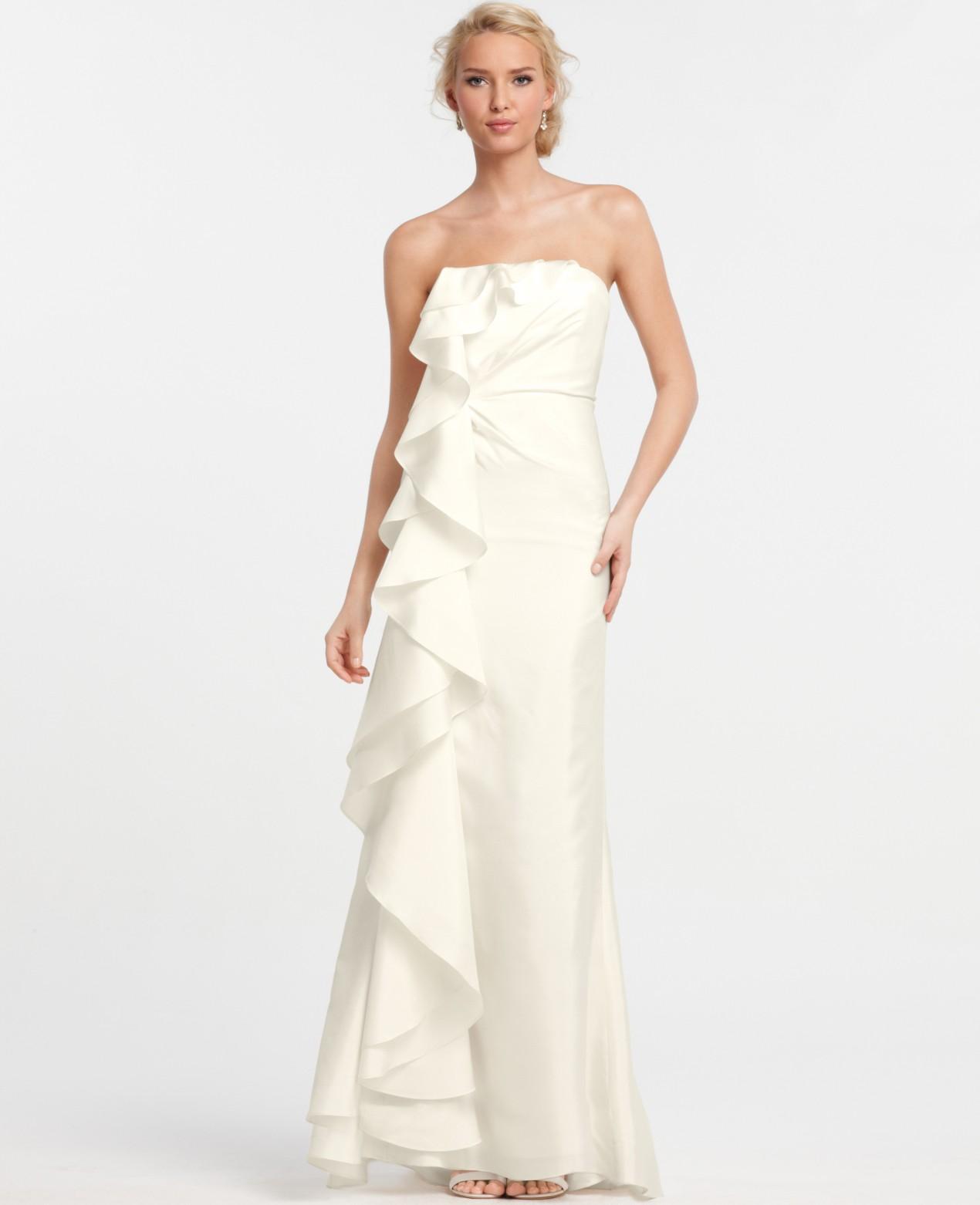 Ann Taylor Silk Dupioni Cascade Ruffle Wedding Dress In