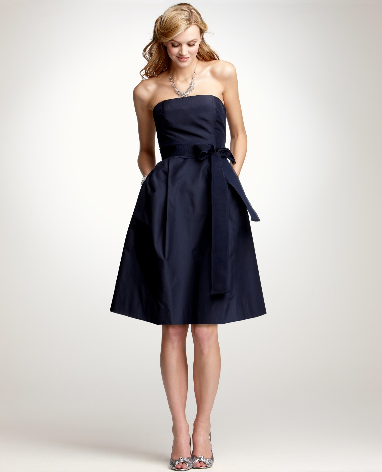Ann taylor silk taffeta strapless bridesmaid dress in blue for Wedding dresses ann taylor