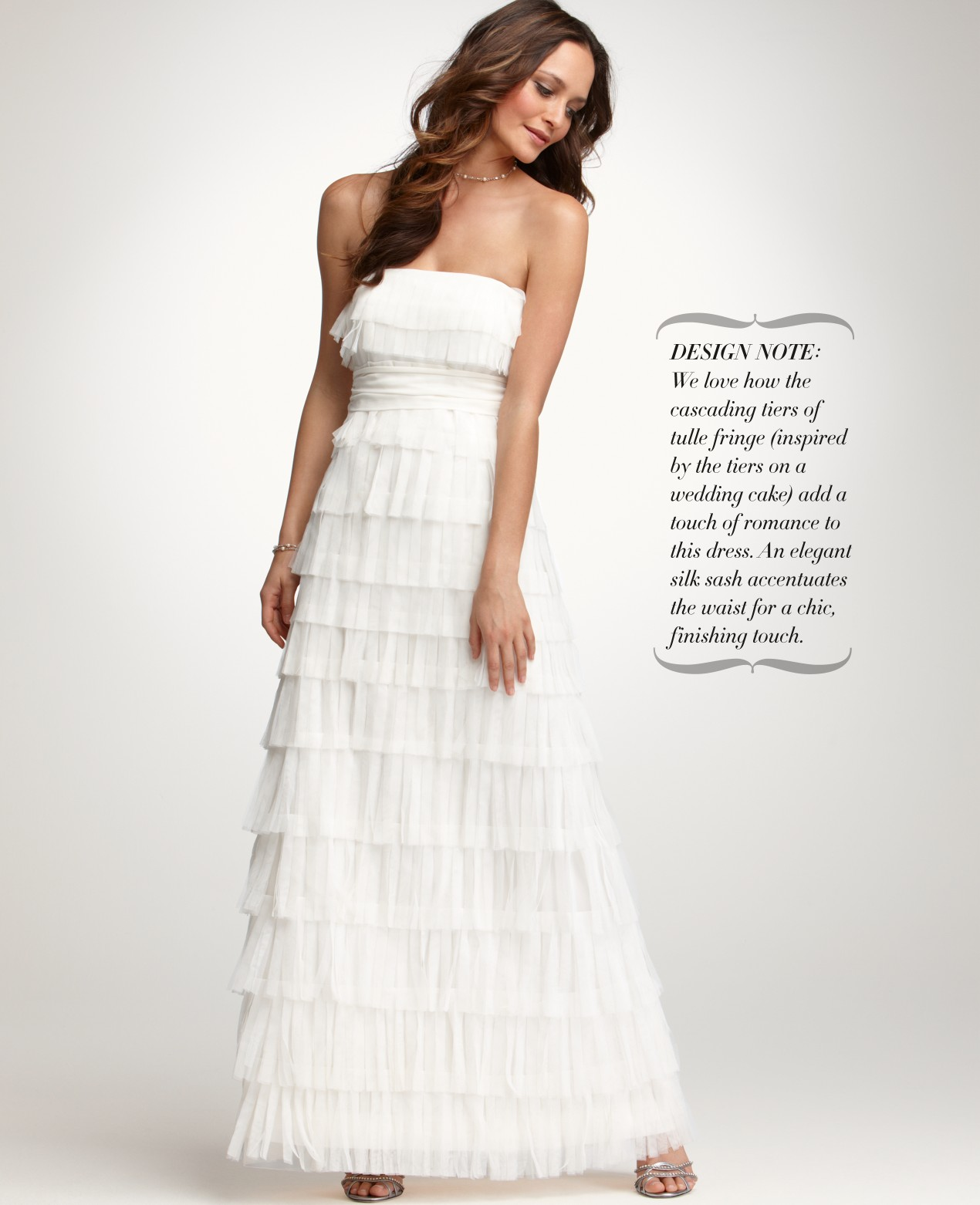 Lyst - Ann taylor Fringe Strapless Wedding Dress in White