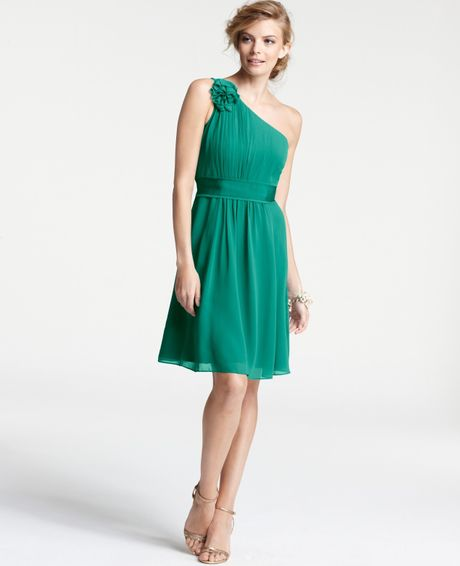 Ann Taylor Petite Silk Georgette Flower One Shoulder Bridesmaid Dress in Green (rich malachite) - Lyst