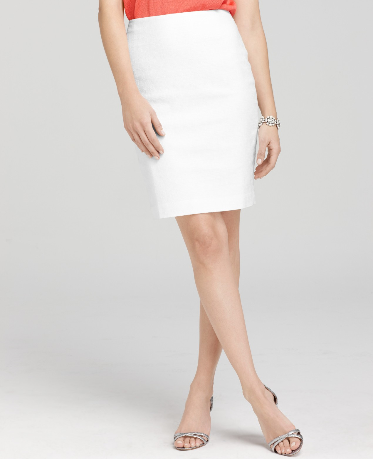 Ann taylor Petite Cotton Linen Pencil Skirt in White | Lyst