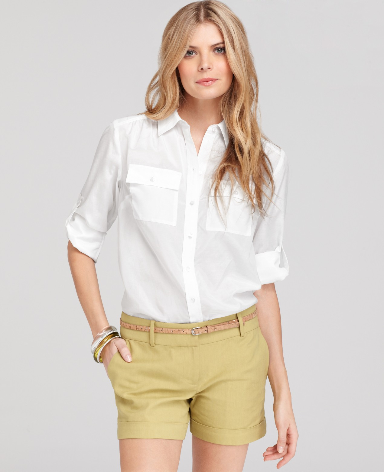 762a884712ef4 Lyst - Ann Taylor Petite Silk Cotton Button Down Camp Shirt in White