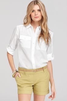 Ann Taylor Silk Cotton Button Down Camp Shirt - Lyst