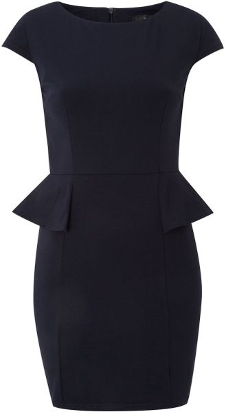 Ax Paris Ax Paris Peplum Cap Sleeve Dress in Black (navy) - Lyst