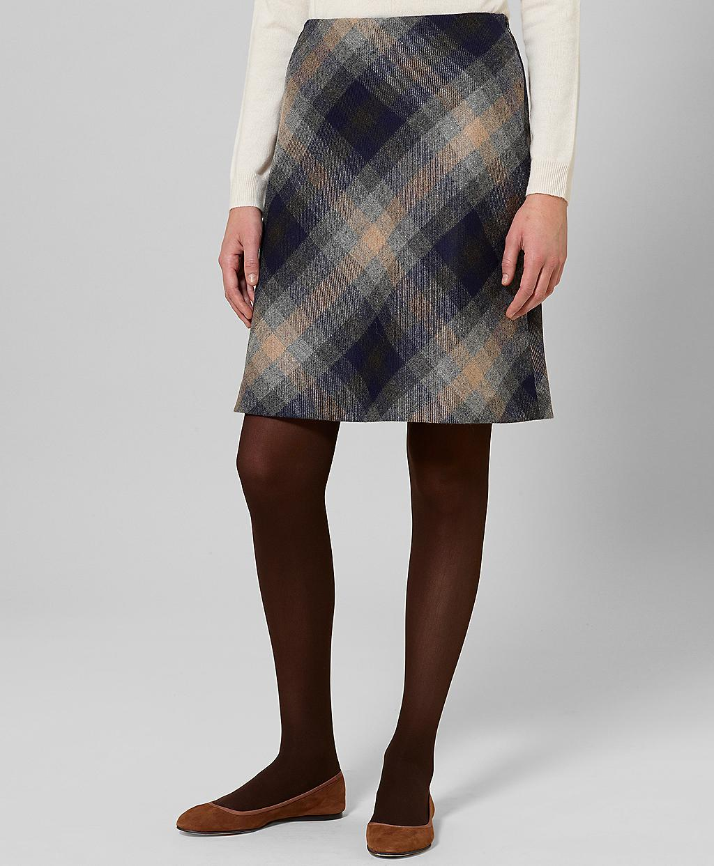 Brooks brothers Petite Wool Plaid Skirt in Blue | Lyst