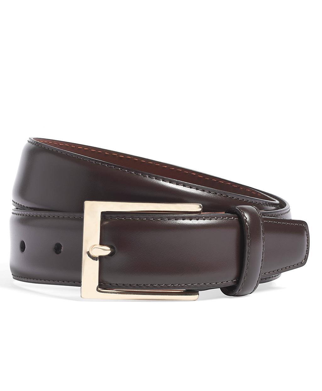 brothers purple gold buckle leather dress belt