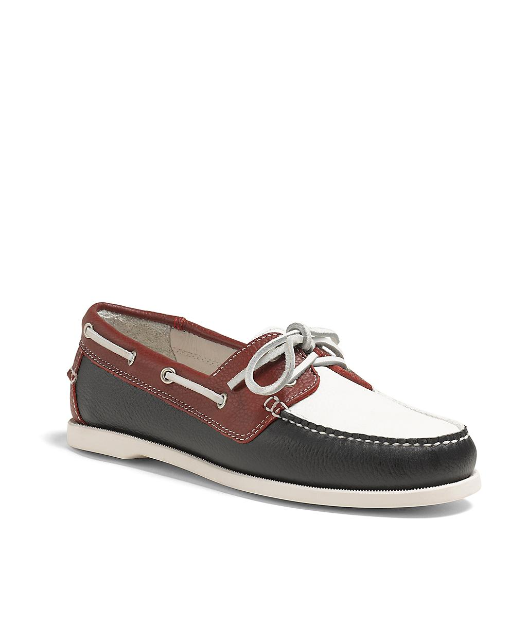 Brooks Brothers Color Block Calfskin Boat Shoes In Blue Lyst