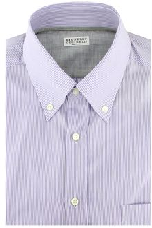 Brunello Cucinelli Lilac Stripe Button Down Dress Shirt - Lyst
