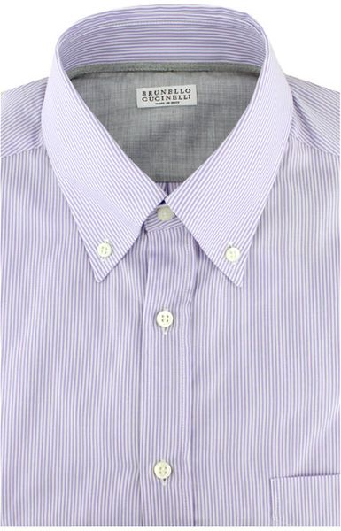 Brunello cucinelli lilac stripe button down dress shirt in for Mens lilac dress shirt