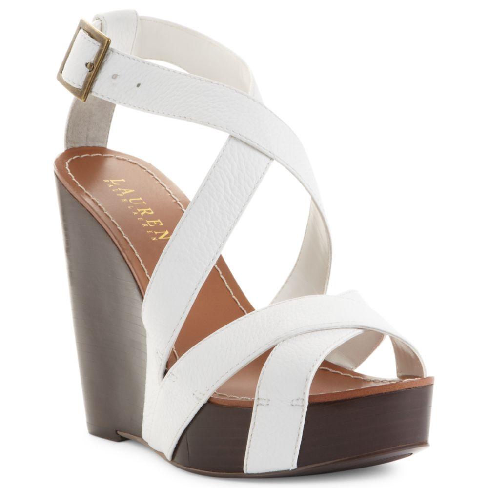 ralph platform wedge sandals in white lyst