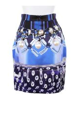 Mary Katrantzou Mini Corollaskirt in Silk with Allover Digital Print in Blue - Lyst