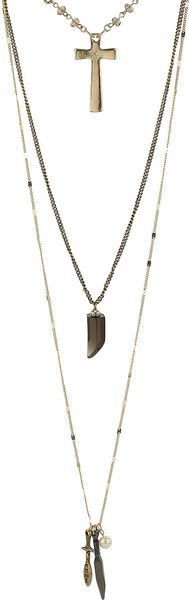 Topshop Relic Cluster Three Row Necklace - Lyst