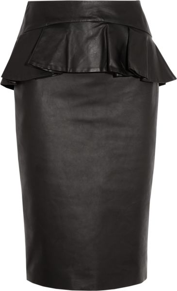 Alexander Mcqueen Leather Peplum Skirt in Black - Lyst
