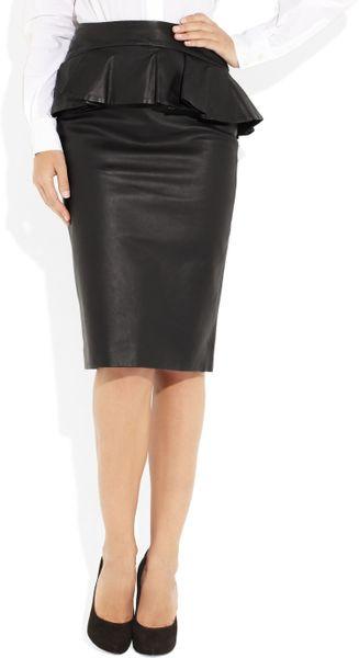 mcqueen leather peplum skirt in black lyst