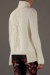 Alexander Mcqueen Patchworkknit Sweater in Gray (cream) - Lyst