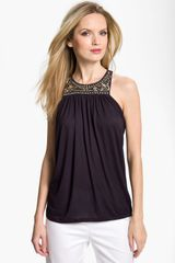 Michael by Michael Kors Beaded Cutaway Top - Lyst