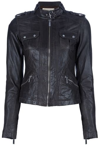 Michael Kors Leather Biker Jacket - Lyst