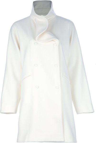 Valentino Wool Blend Coat in White - Lyst